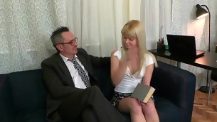 Sweet darling is delighting old instructor with oral engulfing