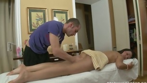 Massage goes irrational as a ladies' slips his cock in a hot pussy
