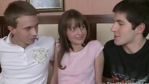 Two teen guys share a sweet unpractised teen