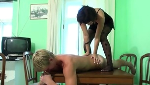 Horny dark brown strips and bonks with state no to stud on table