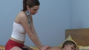 Legal Age Teenager chick motivate massage, which turns into a ardent fucking