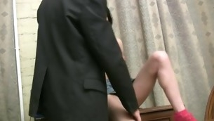 Sweet ungentlemanly suggests her forlorn cum-hole for teacher's pleasure